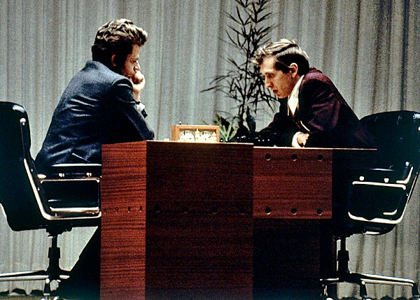 Image result for bobby fischer beats boris spassky for world chess crown