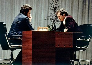 Fischer and Spassky at the 1972 World Chess Championship. Kissinger's call to Fischer motivated him to show up to the match.