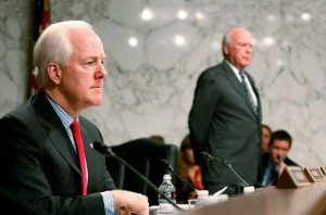 Sen. John Cornyn (R-TX) (L) and Chairman Patrick Leahy (D-CT) (R).  (Photo by Mark Wilson/Getty Images)