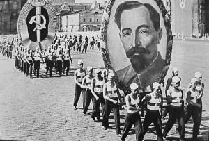 Picture of Felix Dzerzhinsky, one of the earliest heads of the Ministry of State Security, on parade in 1936.