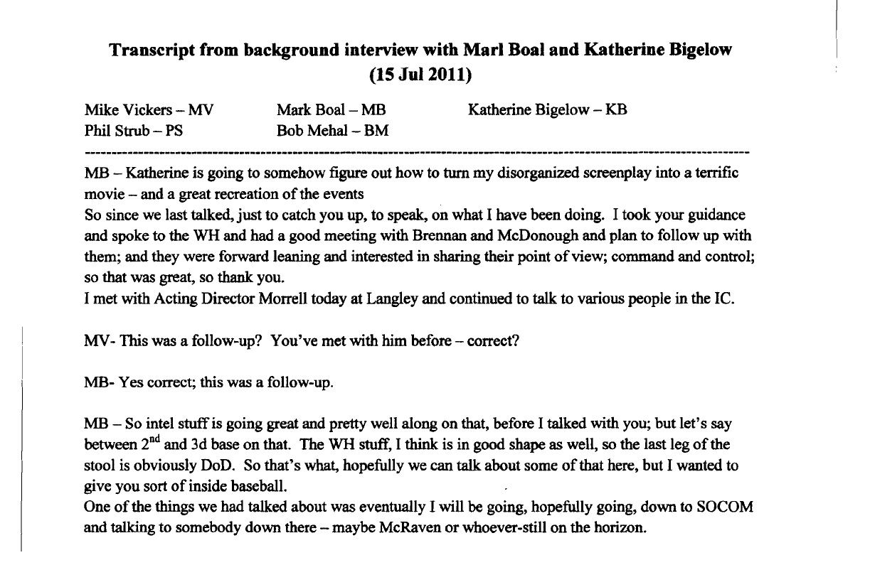 the dynamite pentagon interview behind zero dark thirty image of the vickers transcript which provides the most complete and specific inside history of