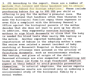 "Part of a summary of a ""realistic and non-sensational view of the adoption process in Guatemala"" as of August 2005"