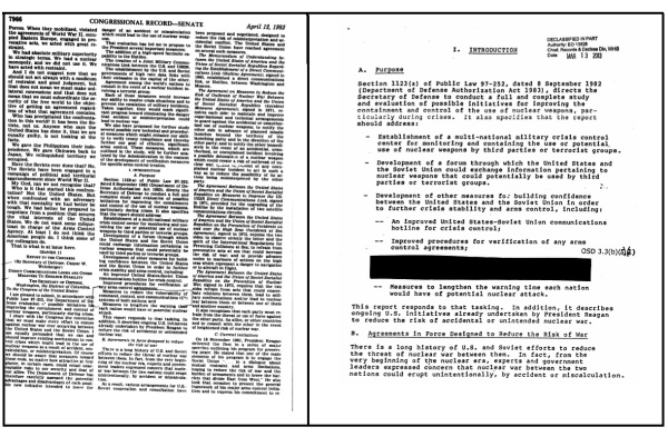 On the left, the first page of the unclassified April 1983 report found in the Congressional Record, and on the right, the redacted version of to the same selection of the unclassified report.
