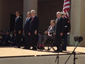 Presidents Carter, H.W. Bush, Clinton, W. Bush, and Obama at the George H.W. Bush Presidential Library today.