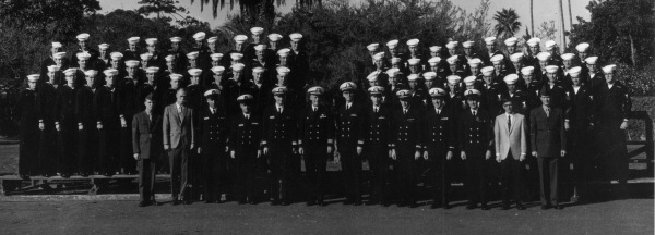A crew photo of the USS Pueblo. The crew opted for more daring poses during forced North Korean photo ops, fond of surreptitiously giving their captors the finger:   http://4.bp.blogspot.com/_hpxaqo7FS9c/TTyDbxwyOOI/AAAAAAAADGU/tGyO3EnULWU/s1600/military%2B-%2BUSS%2BPueblo%2Bcaptured%2Bcrew%2Bgiving%2Bfinger%2B2.jpg