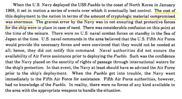 """The cost of this deployment to the nation in terms of the amount of cryptologic material compromised was enormous."""