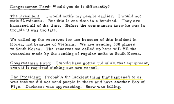 An excerpt from the conversation between President Johnson and Gerald Ford regarding the Pueblo.