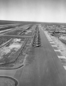 B-47s strategic bombers parked at Sidi Slimane around August 1954, several years before the January 1958 accident where a bomber caught on fire and a nuclear weapon was destroyed. (National Archives, Still Pictures Division, RG 342B, box 1479).