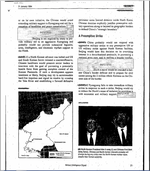 A page of a DIA analysis of Bejing's possible reactions to different contingencies on the Korea peninsula in1994.