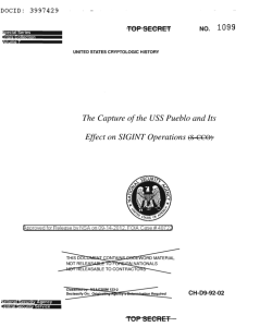 The cover page of the NSA's Top Secret report on the USS Pueblo.