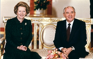 Thatcher and Gorbachev during a meeting on September 23, 1989 in the Kremlin