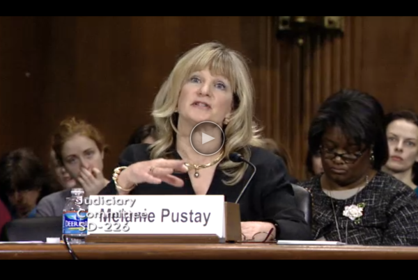 OIP director Melanie Pustay testifying before the Senate that she believed all agencies were in compliance with the OPEN Government Act. Archive Director Tom Blanton testified after Ms. Pustay refuting her claims, but OIP didn't stick around to listen.