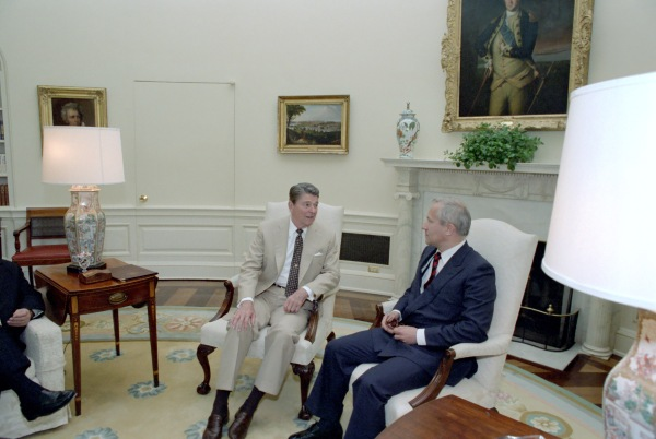 "Reagan and Gordievsky talk ""War Scare."""