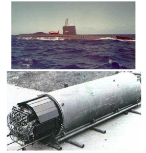 The USS Halibut, the nuclear submarine charged with tapping the Soviet submarine cables, and the tapping device.