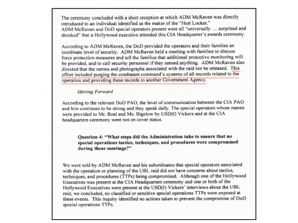 """The draft IG report obtained by the Project on Government Oversight. The highlighted text - later expunged from the final report - reads, """"This effort included purging the combatant command's system of all records related to the operation and providing these records to another Government Agency."""""""
