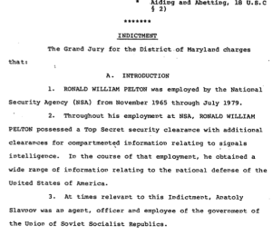 The Grand Jury for the District of Maryland's indictment of Ronald Pelton for espionage.