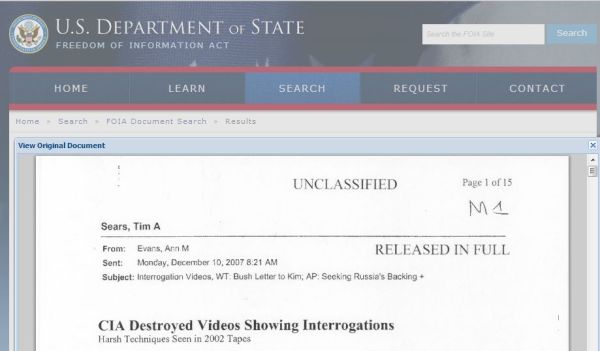 One of 80 thousand documents now available on the Department of State electronic reading room.