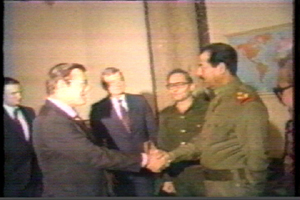 Saddam Hussein greets Donald Rumsfeld, then special envoy of President Ronald Reagan, in Baghdad on December 20, 1983.