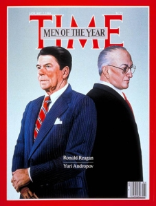 "President Reagan and General Secretary Andropov were named ""men of the year"" in 1983 by the Time Magazine. The Central Intelligence Agency also included an image of this cover in its history of the 1983 War Scare - the reason behind the Queen's impassioned speech. (Original cover © Time, Inc.)"