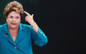 "Rousseff: """"If the facts in the report are confirmed, then it's evident that the motive for the ... espionage is not security or to fight terrorism, but economic and strategic interests."" Photo STRINGER/BRAZIL / REUTERS"