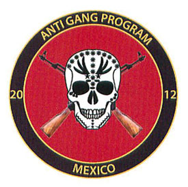 "The seal of the 2012 ""Anti Gang Program"" for Mexico adorns most of the pages of this strange document."