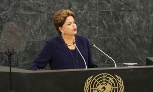 Brazilian President Dilma Rousseff, tortured for opposing Brazil's totalitarian dictatorship in the 1970s, makes a strong stand against NSA surveillance practices at the UN general assembly this week. Photo: Spencer Platt/Getty Images