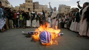 Yemenis protest US drone strikes targeting AQ affiliates - affiliates whose existence is well known. Photo credits Reuters.