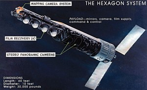 "The HEXAGON spy satellite, in active use from 1971 to 1984, and often referred to as ""Big Bird,"" was the size of a school bus, and carried 60 miles of high-resolution photographic film. (Source: NRO & National Museum of the USAF)"