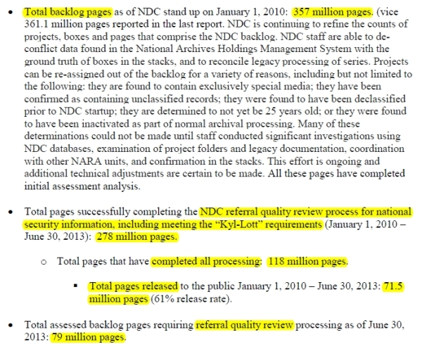 "From the August report.  The ""NDC referral quality review process for national security information, including meeting the 'Kyl-Lott' requirements"" does not mean ""reviewed for declassification"""