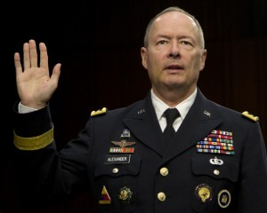 "NSA chief Keith Alexander before the Senate Intelligence Committee. Alexander chose being evasive over being ""misleading."" (AP Photo/Carolyn Kaster)"