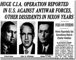 Seymour Hersh broke the story of CIA's illegal domestic operations with a front page story in the New York Times on December 22, 1974.