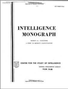 """Secrecy vs. Disclosure: A Study in Security Classification,"" a 1976 CIA Center for the Study of Intelligence Monograph"