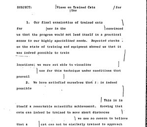 Was 1967 CIA document, 'Views on Trained Cats [deleted] for [deleted] Use,' the document behind the infamous Acoustic Kitty project, an example of CIA overclassification?