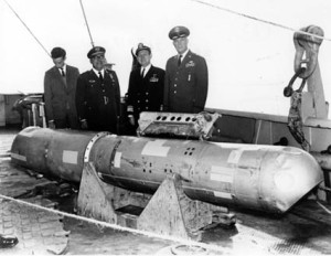 A B28RI nuclear bomb recovered eight days after the January 1966 midair collision between a B-52 bomber and KC-135 over Palomares, Spain.  Photo from wikimedia commons.