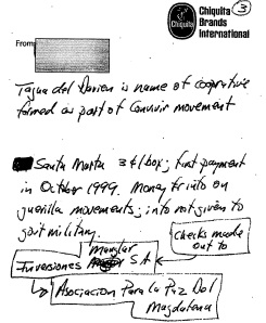 "A March 2000 Chiquita memo says that illegal payments were ""for info on guerrilla movements."""