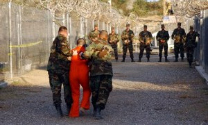 An al-Qaida detainee at Guantanamo Bay in 2002. Photograph: Shane T Mccoy/PA