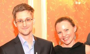 UK WikiLeaks journalist Sarah Harrison with Edward Snowden in Moscow in October. Photograph: Sunshine Press/Getty Images