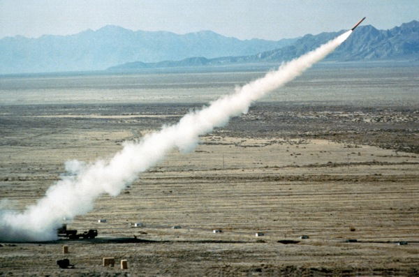 Test of a BGM-109G Gryphon ground-launched cruise missile, deployed to Europe in November 1983.