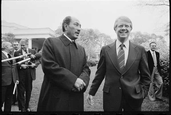 "Egyptian President Sadat with President Carter, April 1977. Photo: CIA flickr stream. Carter summed up his feelings on Sadat during his Cold War interview saying, ""[o]ne of the saddest days of my life, almost equivalent to the death of my own father or my own brothers and sisters, was the death of Anwar Sadat."""
