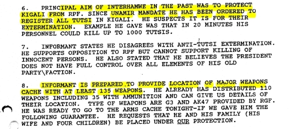the informant tells Dallaire about a weapons cache and plans for extermination of Tutsis.