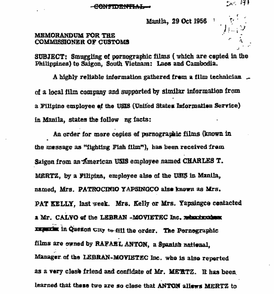 "A Confidential October 26, 1956, memorandum for the Customs commissioner on the smuggling of pornographic films, referred to as ""fighting Fish films,"" into Saigon (page 115) - just one of the documents in the new #Lansdale2013 release."