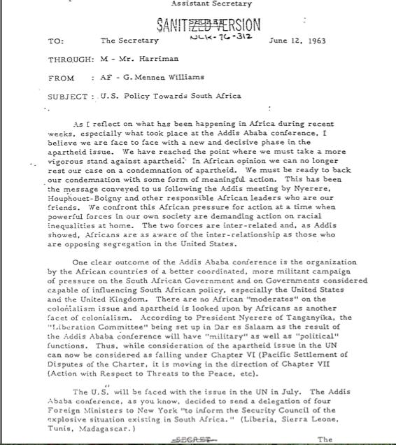 The Secret June 12, 1963, memo from Gov. Mennen Williams to Secretary Rusk.