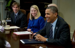 Mark Pincus of Zynga and Marissa Mayer of Yahoo attend a meeting with President Obama at the White House in December. (Photo: Evan Vucci/Associated Press)