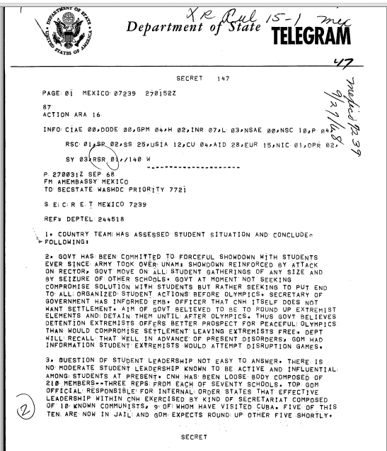 A September 27, 1968, secret State Department telegram