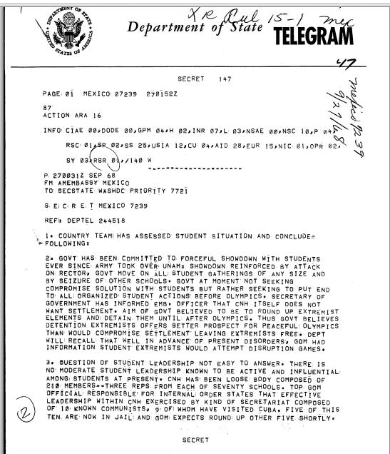 A September 27, 1968, secret State Department telegram