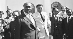 Muhammad Ali met with Kenyan President Daniel Arap Moi to solicit support for the Olympic boycott.  AP Photo