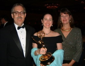 Dr. Bill Burr of the National Security Archive  and his Emmy, shared with producers Kathleen Toner and Polly Pettit.