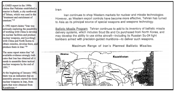 Both Iraqi (left) and CIA analysts (right) believed Iran was working the most closely with Asian countries to acquire nuclear capabilities.