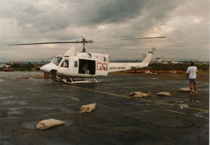 United Nations Helicopter in Rwanda, circa September 1994. Photo from personal collection of Prudence Bushnell.