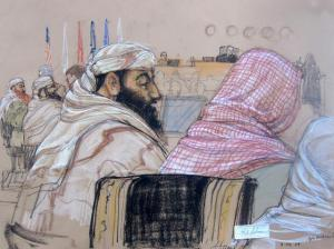 Pentagon-approved sketch of defendant Ramzi Bin al Shibh, center, at his pretrial hearing at the Guantánamo Bay U.S. Naval Base in Cuba, Monday, April 14, 2014.  JANET HAMLIN / ASSOCIATED PRESS